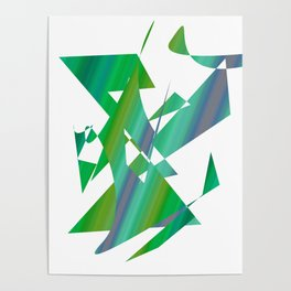 geometrical abstract shapes of green and blue Poster