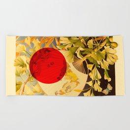 Japanese Ginkgo Hand Fan Vintage Illustration Beach Towel