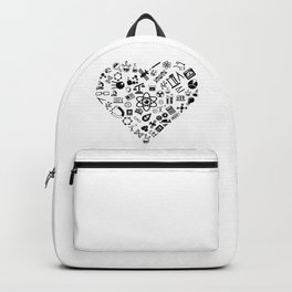 I Love Science   Lab Heart Logic Atheist Backpack