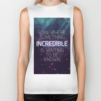 sagan Biker Tanks featuring Incredible - Carl Sagan Quote by Nicholas Redfunkovich