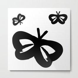 Flying Butterflies Pattern Black on White Metal Print