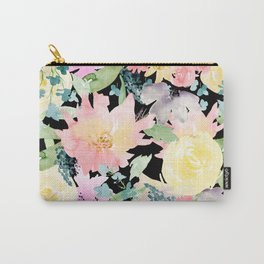 Black Floral Wildflowers Carry-All Pouch