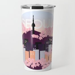 Seoul Tower with Cherry Blossoms Woodblock Style Souvenir Print Travel Mug