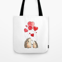 Hedgehogs in Love, illustration of hedgehog sweethearts with balloons. Tote Bag