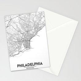Minimal City Maps - Map Of Philadelphia, Pennsylvania, United States Stationery Cards