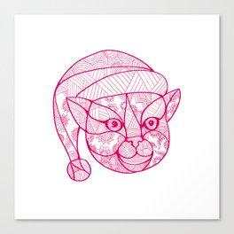Cat Wearing Santa Hat Mandala Canvas Print