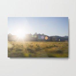 Grand Teton Mountains Sun Flare Metal Print