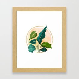 Opening Act / tropical greenery with metallic accent Framed Art Print