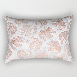 Boho rose gold floral paisley mandala elephants illustration white marble pattern Rectangular Pillow