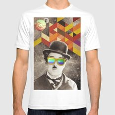 Public Figures Collection - Chaplin Mens Fitted Tee MEDIUM White
