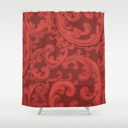 Retro Chic Swirl Grenadine Shower Curtain