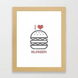 I Love Burger - BBQ Barbecue Grill Design Framed Art Print