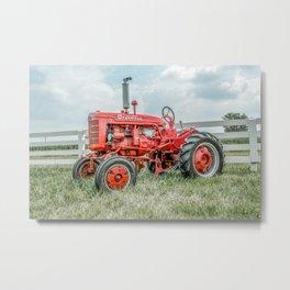 Vintage Farmall A Antique Red Tractor Farming Nostalgia Farm Equipment  Metal Print