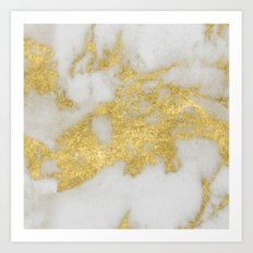 Marble - Yellow Gold Marble Foil on White Pattern Art Print
