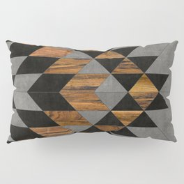 Urban Tribal Pattern 10 - Aztec - Concrete and Wood Pillow Sham