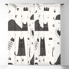 black cats Blackout Curtain