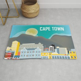 Cape Town, South Africa - Skyline Illustration by Loose Petals Rug