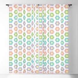 Rainbow flowers on white background Blackout Curtain
