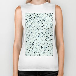 'Speckle Party' Navy Mint Black White Dots Speckle Terrazzo Pattern Biker Tank