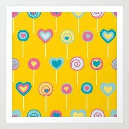 Yellow lollipops sweet love Art Print