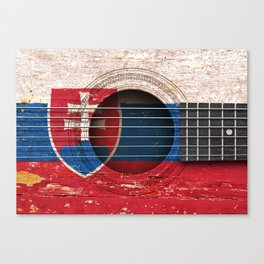 Old Vintage Acoustic Guitar with Slovakian Flag Canvas Print