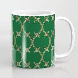 Gold Moroccan Lattice on Green Coffee Mug