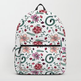 Hand Drawn Fantasy Floral Pattern Backpack