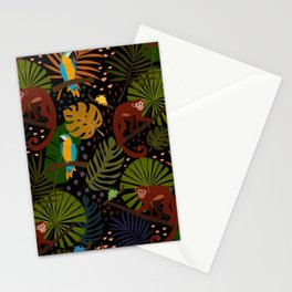 Jungle Fun With Monkeys, Macaws and colorful Dart Frogs Stationery Cards