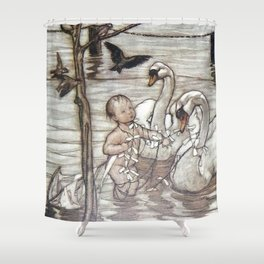 """Baby and the Swans"" by Arthur Rackham Shower Curtain"