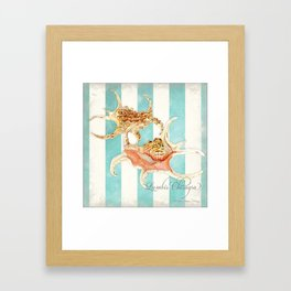Conch Shell Striped Shabby Beach Cottage Watercolor Illustration Framed Art Print