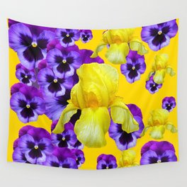 GOLDEN YELLOW IRIS PURPLE PANSY GARDEN Wall Tapestry