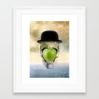 magritte Framed Art Prints featuring Magritte Skull by HenryWine