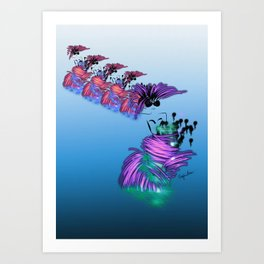 Fashion models dancing in colorful party dr Art Print
