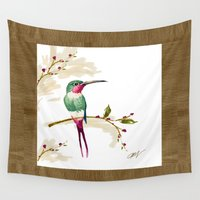hummingbird Wall Tapestries featuring hummingbird by Ariadne