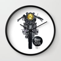 cafe racer Wall Clocks featuring Moto - cafe racer by dareba
