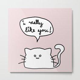 Kitty Likes You Metal Print