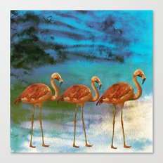 Flamingo Illustration on watercolor - Birds Animals at night Canvas Print