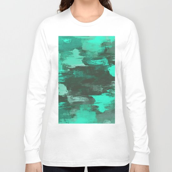Chill Factor - Abstract cyan blue painting Long Sleeve T-shirt