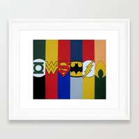 justice league Framed Art Prints featuring Justice Logo's by iankingart