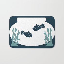 Two friendly fish together in a bowl - graphic Bath Mat