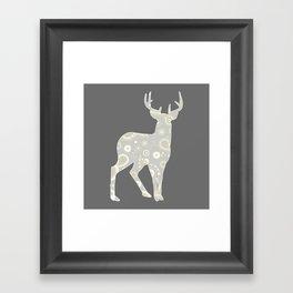 Buck Paisley Pattern Grey and Yellow  Framed Art Print
