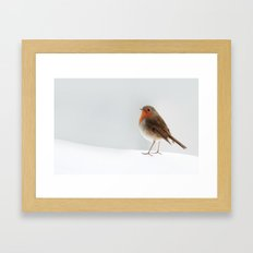Robin into the Snow Framed Art Print