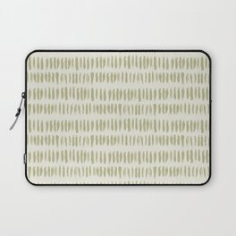 Earthy Green on Cream Parable to 2020 Color of the Year Back to Nature Bold Grunge Vertical Stripes Laptop Sleeve