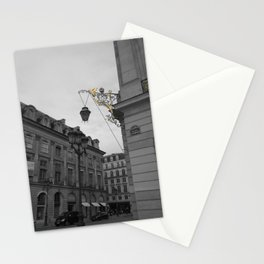 Paris black and white with color GOLD Stationery Cards