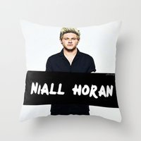 niall horan Throw Pillows featuring Niall Horan by girllarriealmighty