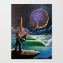 Cosmic Surf Scene Canvas Print