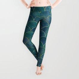 Dark Teal Beautiful Art Magenta Deco Marble Shimmer Mermaid Scales Gold Trim Seamless Pattern Leggings