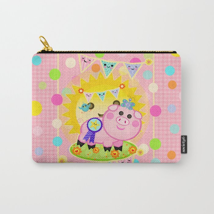 Pink Prize Pig Pennant Children's Art Carry-All Pouch