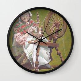 Old Irish Woman Sitting At A Spinning Wheel Wall Clock