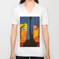 twins V-neck T-shirts featuring Twins by Shahadjef